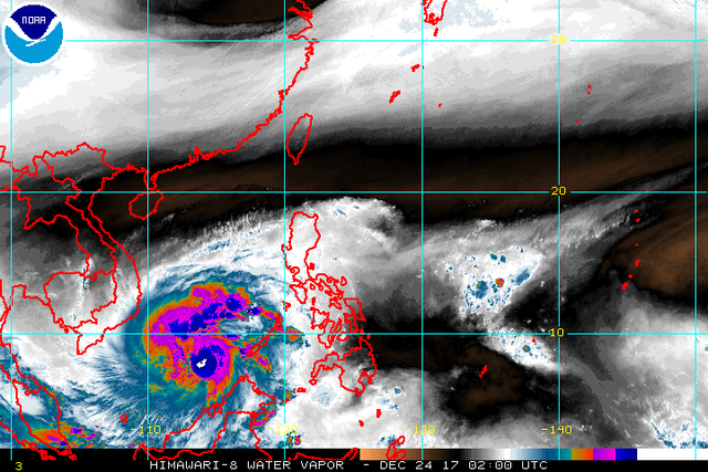 Satellite image as of December 24, 10 am. Image courtesy of NOAA