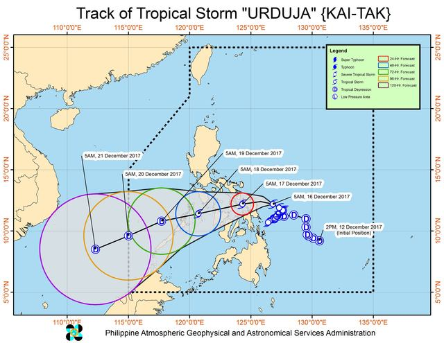 Forecast track of Tropical Storm Urduja as of December 16, 8 am. Image courtesy of PAGASA