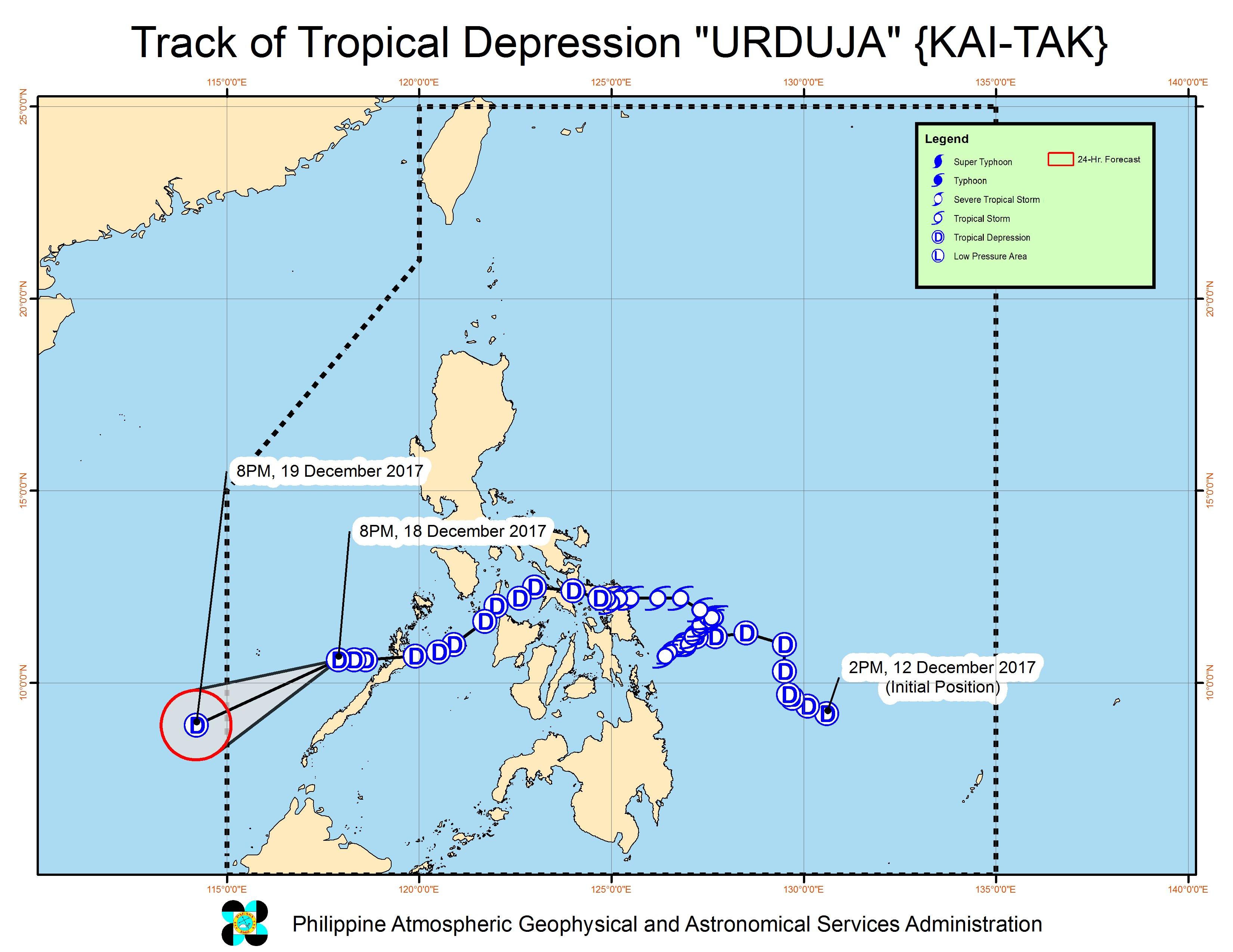 Rain in Palawan to ease as Tropical Depression Urduja moves away