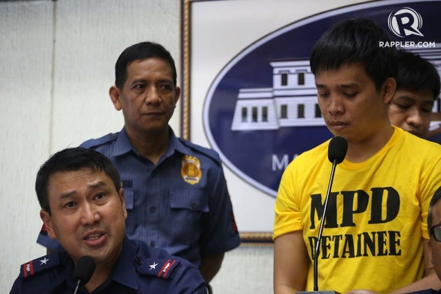 QUIAPO BLAST. MPD chief Joel Coronel presents one of the suspects in the April 28 blast in Quiapo, Manila. Photo by Ben Nabong/Rappler