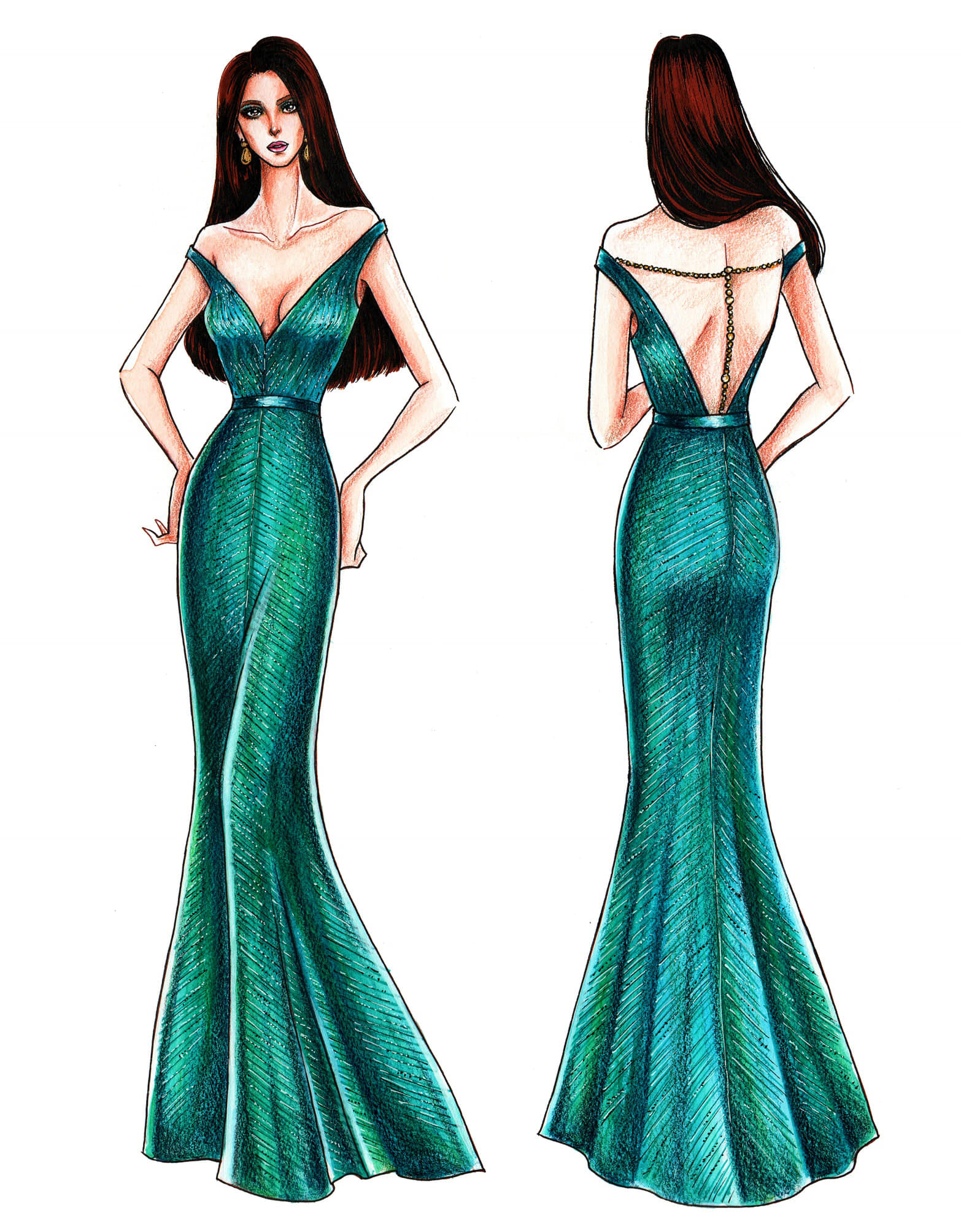 LOOK Designer Mak Tumangu0026#39;s Sketches Of Catriona Grayu0026#39;s Miss Universe 2018 Evening Gowns