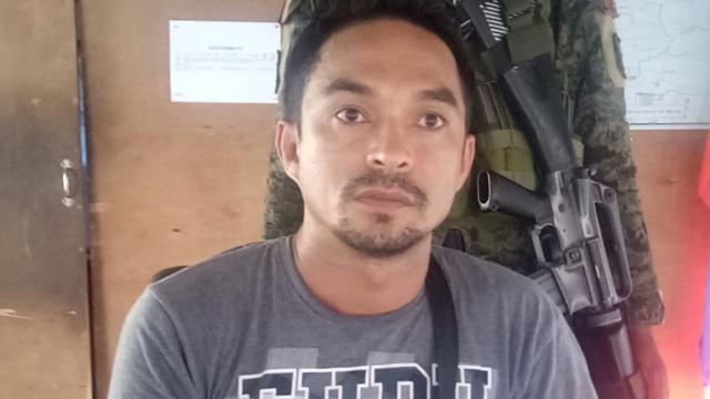 IN CUSTODY. Kelly Delgado is arrested at a joint police and military checkpoint in Lasang, Davao City, on April 27, 2019. Photo courtesy of Task Force Davao
