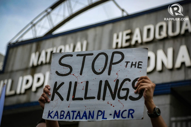 END KILLINGS. Human rights groups condemn the killings under President Rodrigo Duterte. File photo by Jire Carreon/Rappler