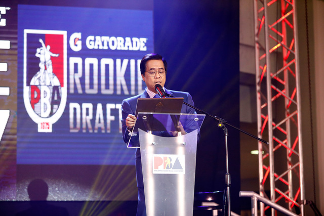 UNDER SIEGE. PBA Commissioner Chito Narvasa during the recent rookie draft. File Photo