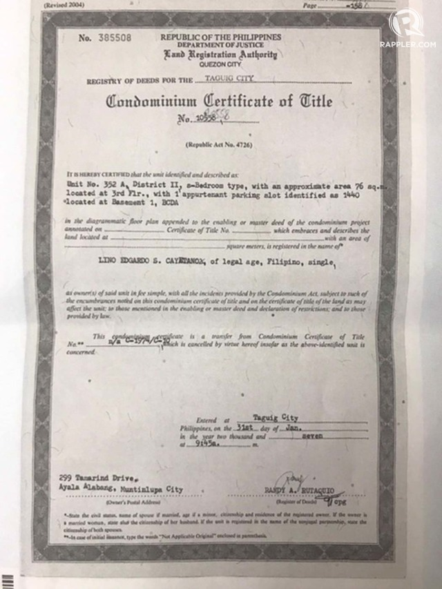 NEW EVIDENCE Lino Cayetanos Condomium Certificate of Title Rappler photo