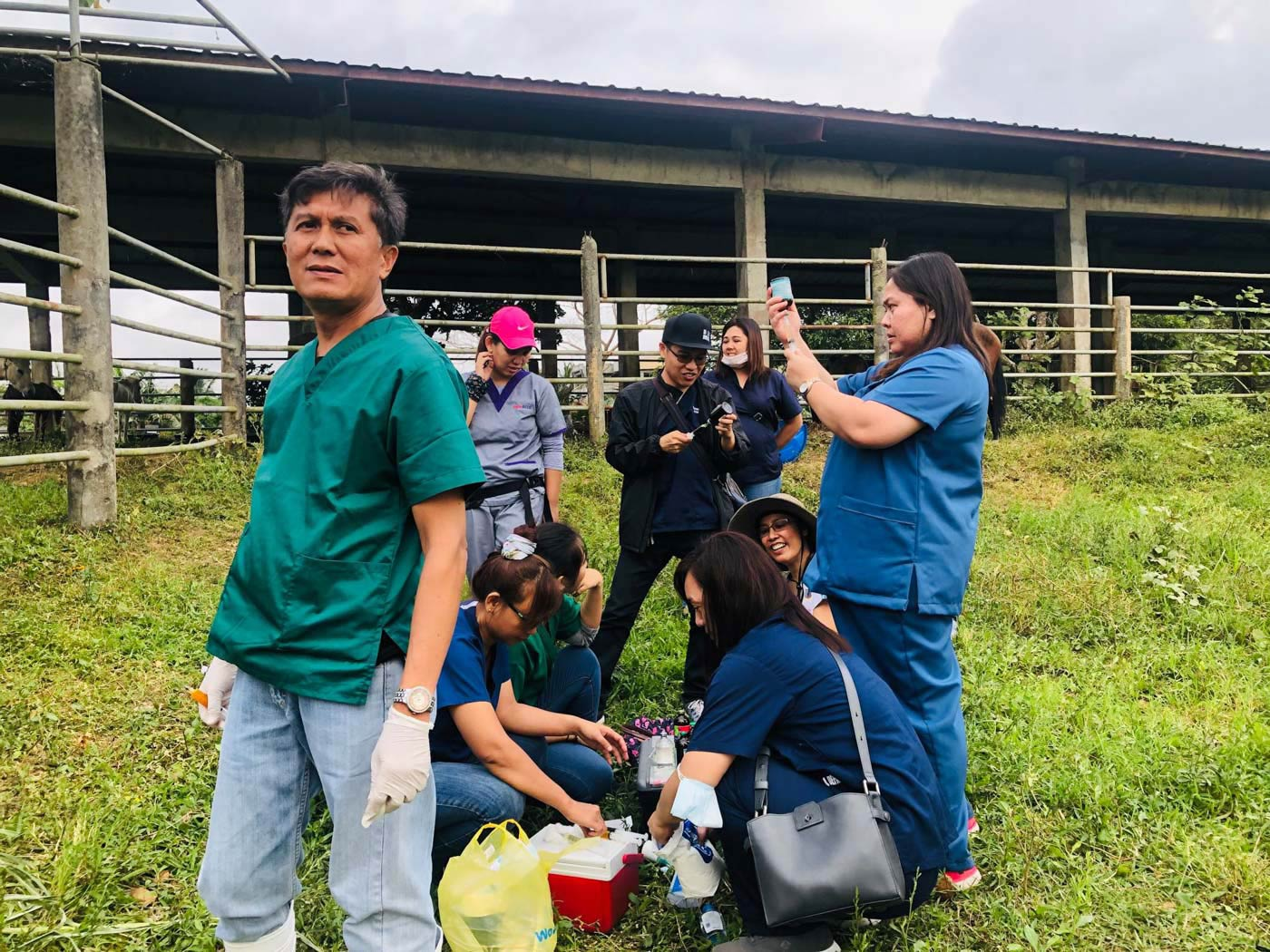 CAVITE Provincial Veterinary Office staff and volunteers on January 18, 2020, rescue and treat animals affected by the Taal Volcano eruption. Photo courtesy of Cavite PIO