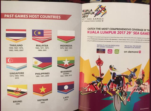 TERBALIK. Panitia SEA Games 2017 keliru mencetak warna bendera Indonesia di buku panduan upacara pembukaan yang digelar di Stadion Bukit Jalil pada Sabtu, 19 Agustus. Foto diambil dari akun Twitter Imam Nahrawi