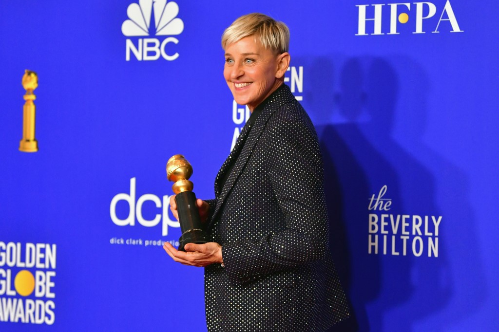 AWARDS SEASON. TV host Ellen DeGeneres after receiving the Carol Burnett award during the 77th annual Golden Globe Awards on January 5, 2020, at The Beverly Hilton hotel in Beverly Hills, California. Photo by AFP