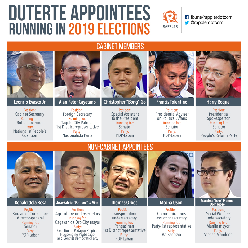 10 Duterte Appointees Running In 2019 Elections