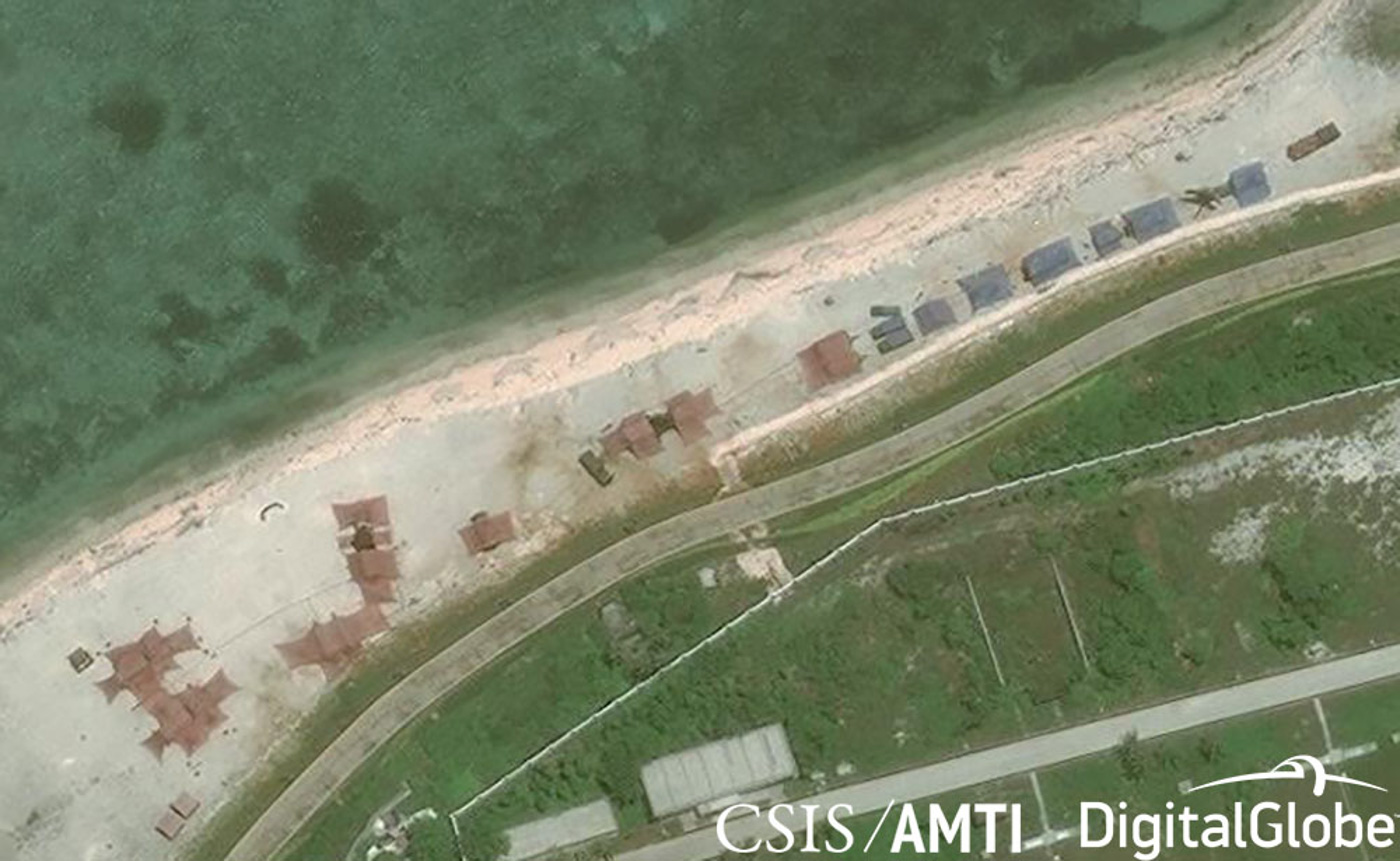 NEW WEAPONS. China deploys new weapons systems to Woody Island, their base on the Paracel Islands. Photo from CSIS/AMTI/DigitalGlobe
