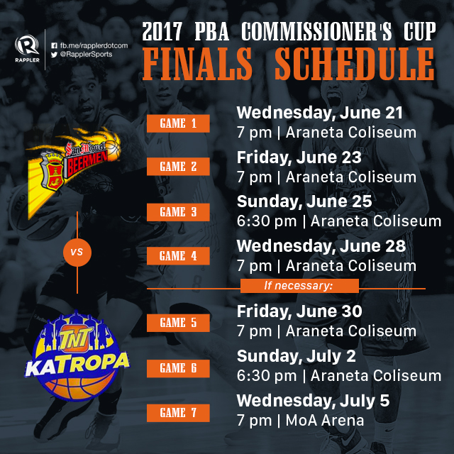 SCHEDULE: 2017 PBA Commissioner's Cup Finals – TNT vs SMB