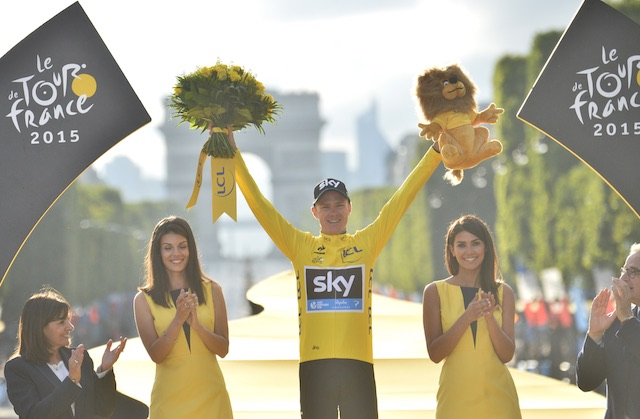 f1eda479b Team Sky rider Christopher Froome of Great Britain celebrates on the podium  after