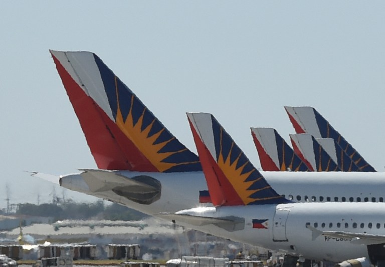 This Photo Taken On January 26 2016 Shows Tail Sections Of Philippine Airlines Pal