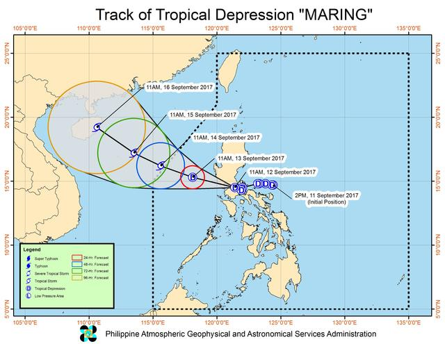 Forecast track of Tropical Depression Maring as of September 12, 2 pm. Image courtesy of PAGASA