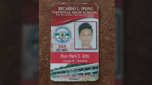 NPA FIGHTER. The school ID of slain teenager Jhun Mark E. Acto. He was in Grade 8. Photo from Karapatan