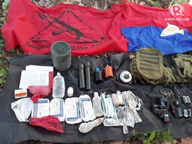 ENCOUNTER. The military yielded several NPA paraphernalia and weapons after an encounter on April 21, 2018 in Davao del Sur. Photo courtesy of the Eastern Mindanao Command.