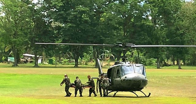 TRANSFERRED. NPA leader Elizalde Cañete is flown to Davao City on Tuesday, May 29, from Bukidnon, where he was rearrested at a hospital earlier this month. Photo by Davao City Police Office
