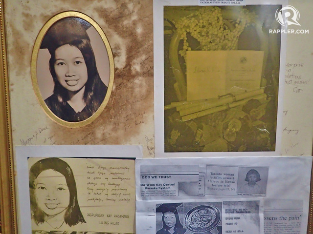 LILIOSA HILAO. Her photos can be found at the Bantayog'€™s Hall of Remembrance. She was tortured and abused after she wrote articles critical of the Marcos regime.