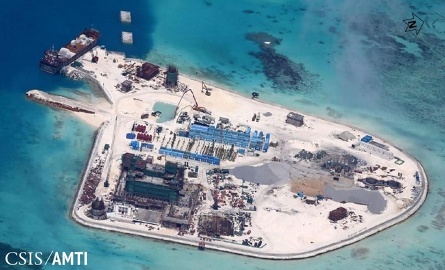 MABINI REEF. Internationally known as Johnson Reef, Mabini Reef has been reclaimed and turned into a military outpost by China. Image from CSIS/AMTI