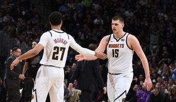 check out 6418d e2f23 Jokic powers Nuggets past Blazers in semis series opener