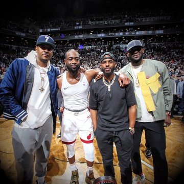 748b5acba51 LOOK: LeBron, CP3, Melo turn up antics in Wade's final game