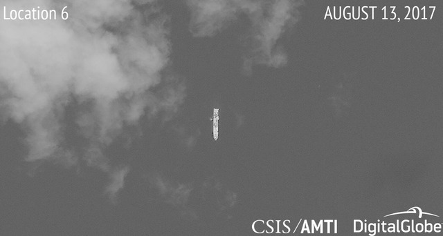 'ACTIVELY FISHING.' This photo shows one of two Chinese ships that 'appear to be actively fishing, with their nets visibly in the water,' says the Asia Maritime Transparency Initiative of the Center for Strategic and International Studies. Photo courtesy of CSIS/AMTI and DigitalGlobe