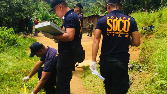 SITE INVESTIGATION. Regional police probers check the ambush site at Barangay Mabato in Ayungon town, Negros Oriental, on July 19, 2019. Contributed Photo