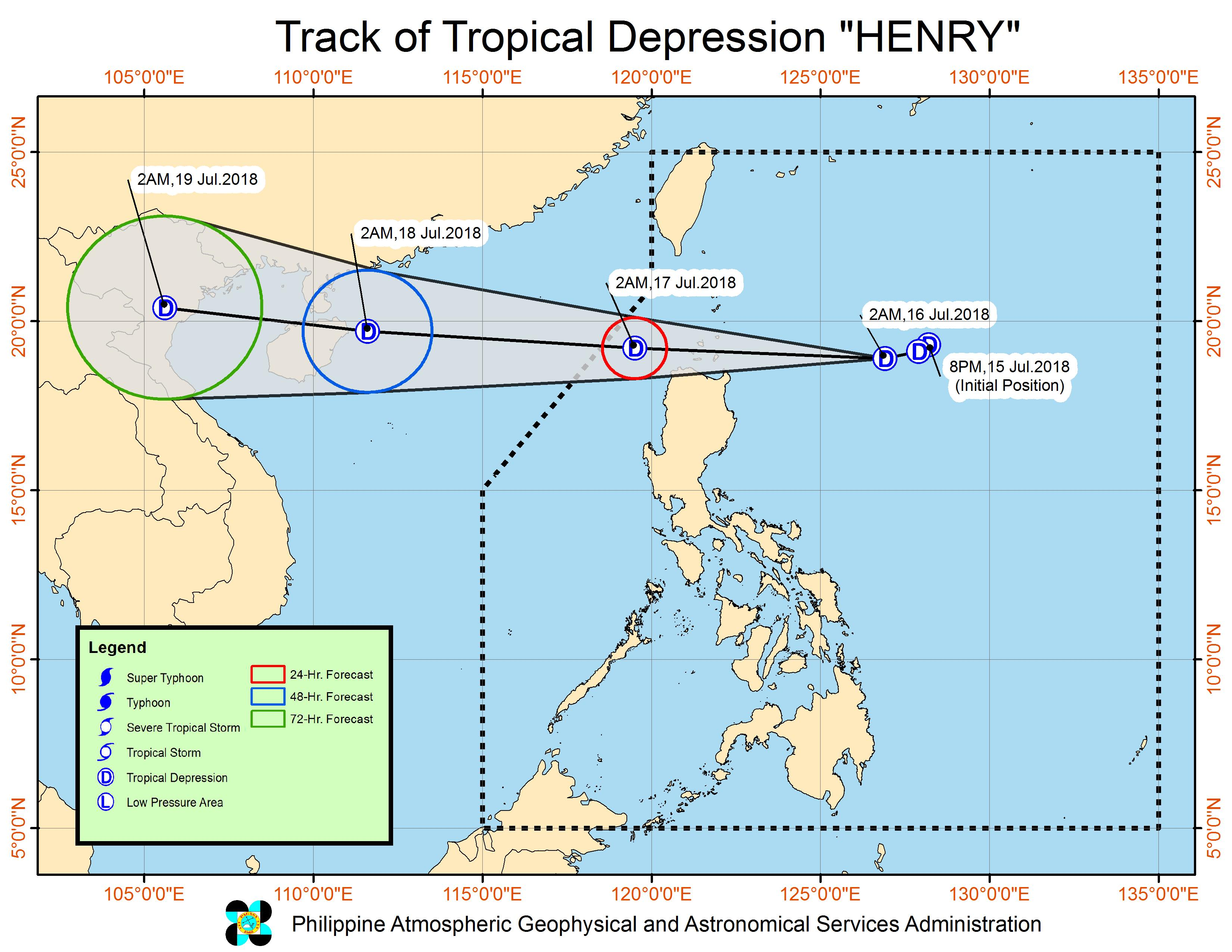 Tropical Depression Henry off to extreme Northern Luzon