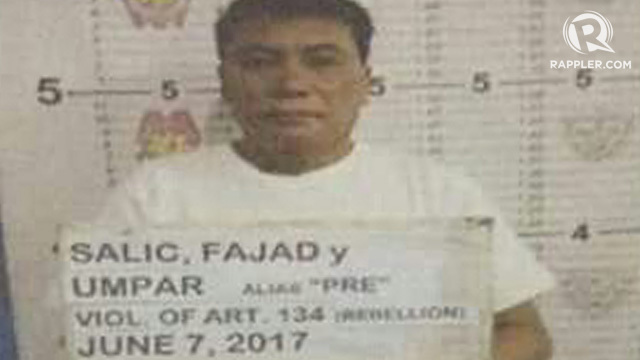 ARRESTED. A police photo of Fajad Salic, arrested June 7, 2017. Photo courtesy PNP