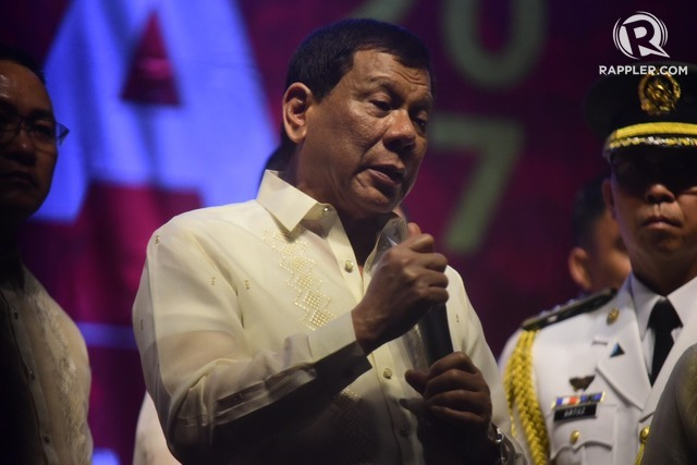MESSAGE TO LEFT. President Rodrigo Duterte speaks to leftist groups protesting his second State of the Nation Address. File photo by Alecs Ongcal/Rappler