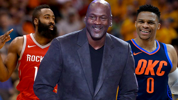 cc46ad8ca8a Michael Jordan (center) says the incredible feats of James Harden (left