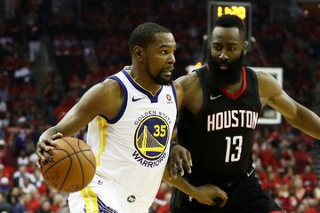131ae2f41707 Kevin Durant of the Golden State Warriors drives against James Harden