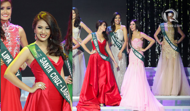 DRESSING BEAUTY QUEENS. Alyanna Cagandahan wears a red gown by Bessie at the Miss Philippines Earth 2015 pageant. File photo by Mark Cristino/Rappler