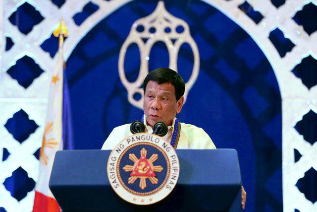 MINDANAO PROMISE. President Rodrigo Duterte during the inauguration of the Bangsamoro Autonomous Region in Muslim Mindanao (BARMM) at the Shariff Kabunsuan Cultural Complex in Cotabato City on March 29, 2019. Malacañang file photo
