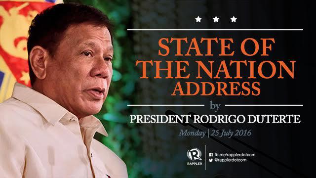 Highlights: President Duterte's State of the Nation Address (SONA) 2016