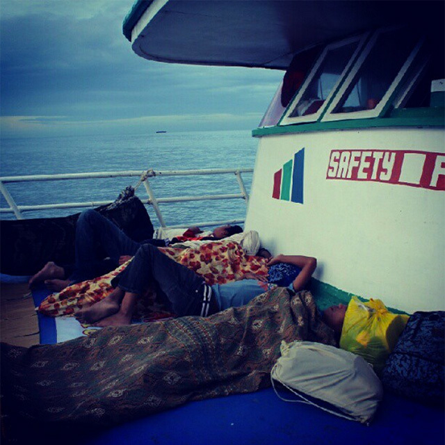 SAFETY FIRST? These passengers slept on the deck of the ship traversing the Sarangani Straight. Photo by Mick Basa