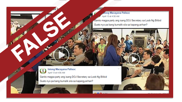 FALSE. Screenshot of Istong Macayana Palisoc's Facebook post claiming Senator Leila de Lima held a party at the New Bilibid Prison.