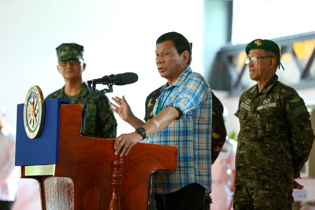 MARITIME ROW. President Rodrigo Duterte speaks to media during his visit to the Western Command Headquarters at Camp General Artemio G. Ricarte in Puerto Princesa, Palawan on April 6, 2017. Malacañang file photo
