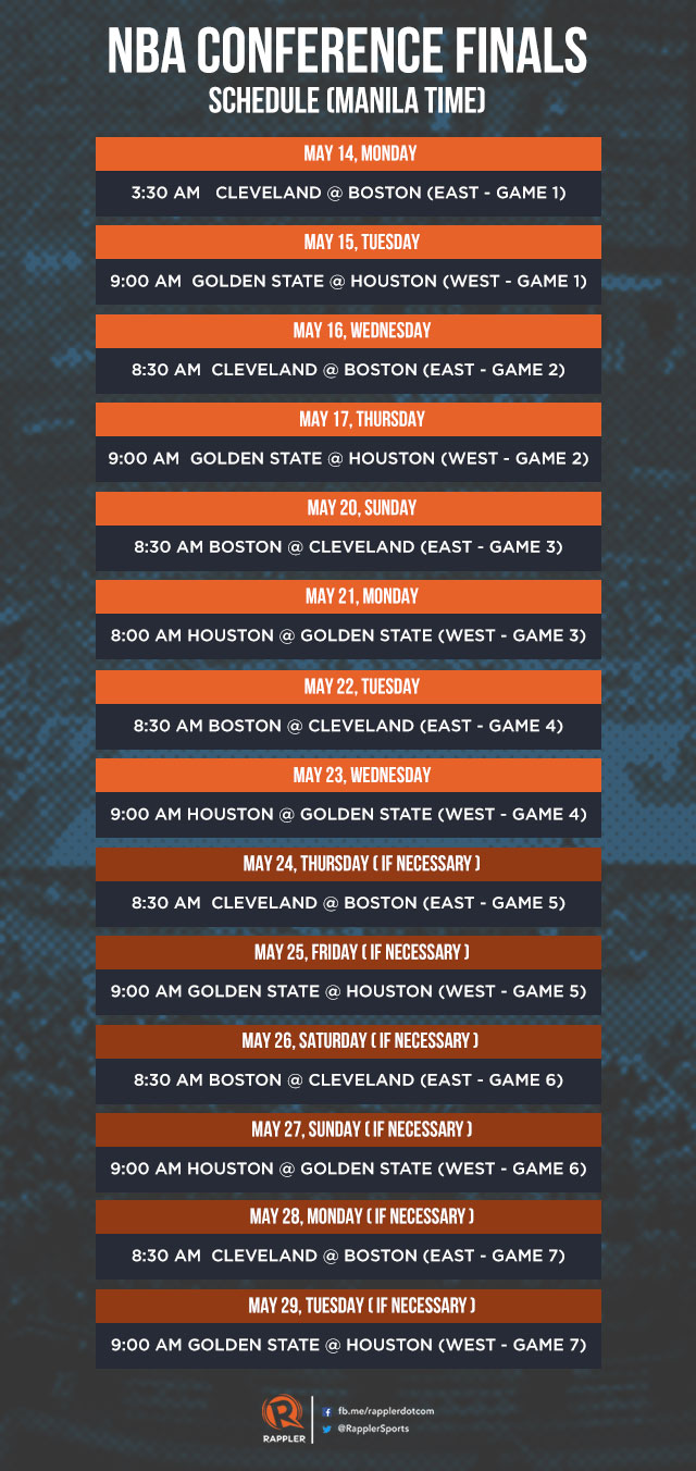 look: 2018 nba conference finals schedule, philippine time