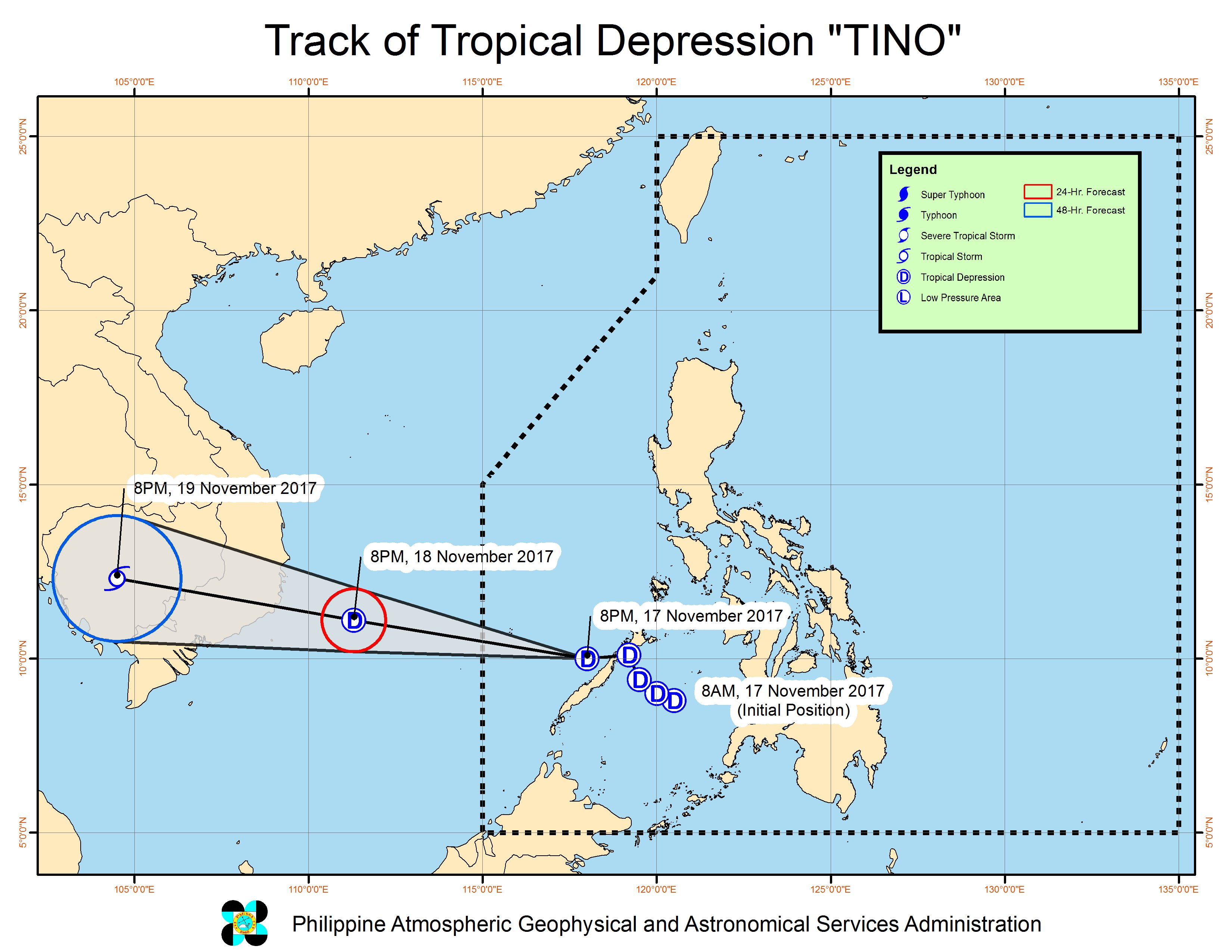 Tropical Depression Tino begins to move away from PH