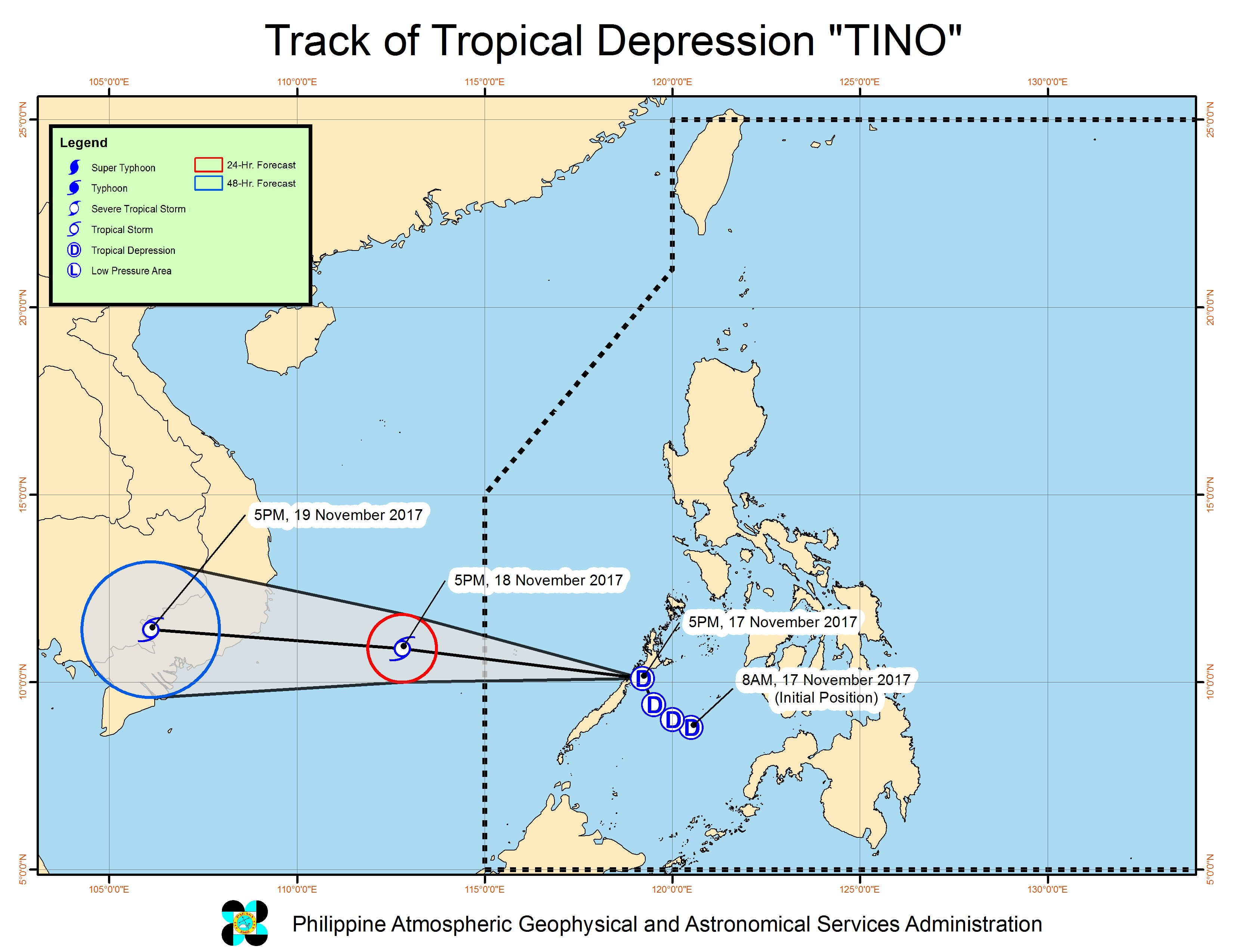 Tropical Depression Tino makes landfall in Palawan