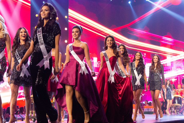 OPENING. Catriona Gray, Miss Philippines 2018; Marisela De Montecristo, Miss El Salvador 2018; Nariman Khaled, Miss Egypt 2018; Virginia Limongi, Miss Ecuador 2018; Aldy Bernard, Miss Dominican Republic 2018; Helena Heuser, Miss Denmark 2018; and Lea Steflickova, Miss Czech Republic 2018; on stage in fashion by Sherri Hill during the opening of Miss Universe. Photo by the Miss Universe Organization