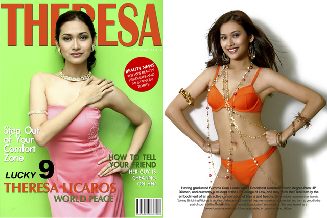 MAGAZINE LOOK. Former Miss Universe Philippines Anna Theresa Licaros poses for Saldaña.