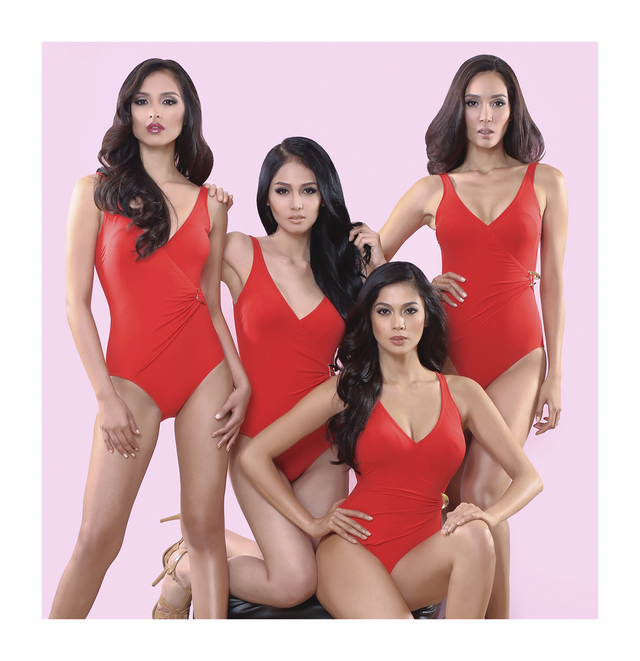 LADIES IN RED. Bb Pilipinas 2013 batch wearing their red swimsuits. (Left to right) Miss Supranational 2013 Mutya Datul, Bb Pilipinas Tourism Joanna Cindy Miranda, Miss Universe 2013 3rd Runner-up Ara Arida, and Miss International 2013 Bea Rose Santiago.