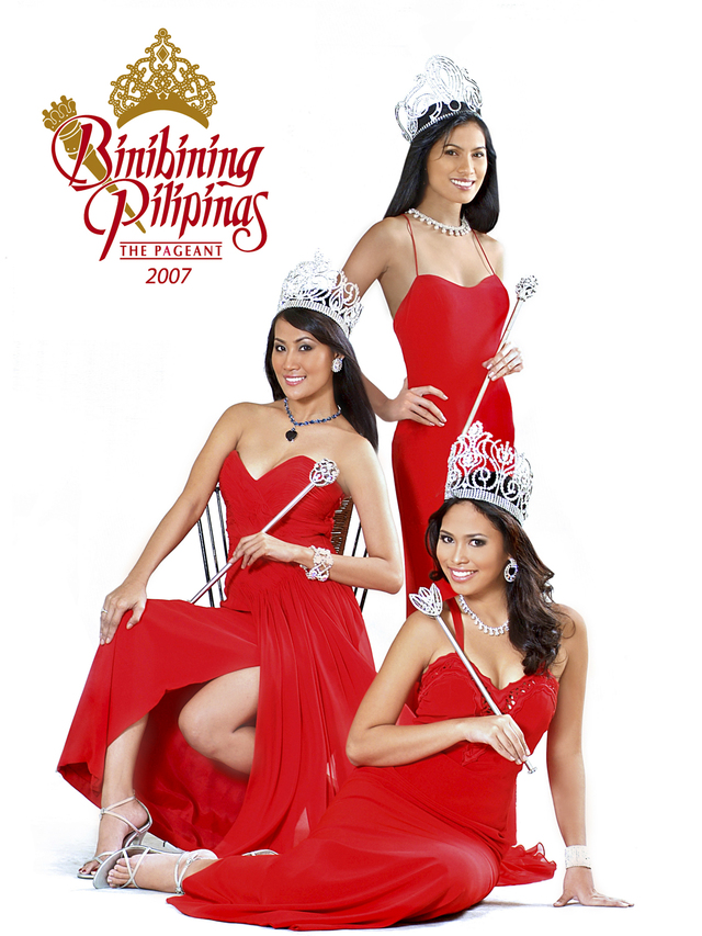 2007 QUEENS. Saldaña's first ever Bb. Pilipinas Souvenir Program cover was in 2007 featuring (Top to Bottom) Bb. Pilipinas Universe 2006 Lia Andrea Ramos, Bb. Pilipinas International Denille Lou Valmonte, and Bb. Pilipinas World 2006, Anna Maris Igpit.