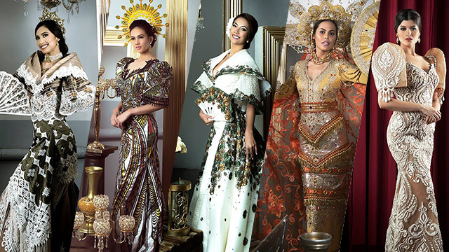 TRADITIONAL COSTUMES. From left to right: Ana Patricia Asturias, Nelda Ibe, Larah Grace Lacap, Chanel Olive Thomas, and Maria Angelica de Leon. Photos courtesy of Raymond Saldaña/Bb Pilipinas