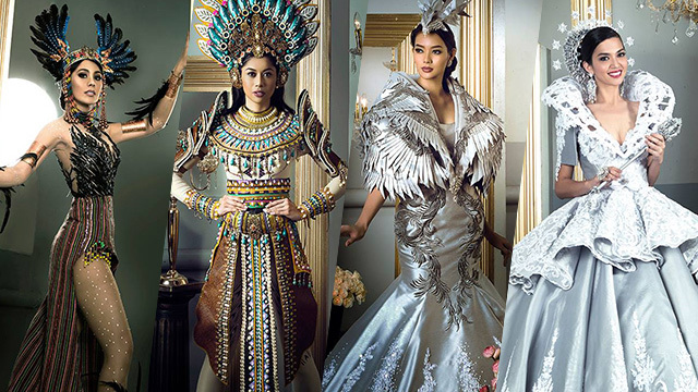 FILIPINIANA FANTASY. From left to right: Kimberly Pajares, Christagale Borja, Jehza Huelar, and Juliana Kapeundl. Photos courtesy of Raymond Saldaña/Bb Pilipinas
