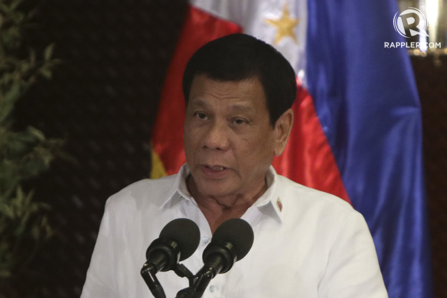 PHILIPPINE LEADER. President Rodrigo Duterte gives his message during the celebration of the 24th Anniversary of Office of the Presidential Adviser on the Peace Process (OPAPP) at Malacañang Palace. Photo by Lito Boras/Rappler.com