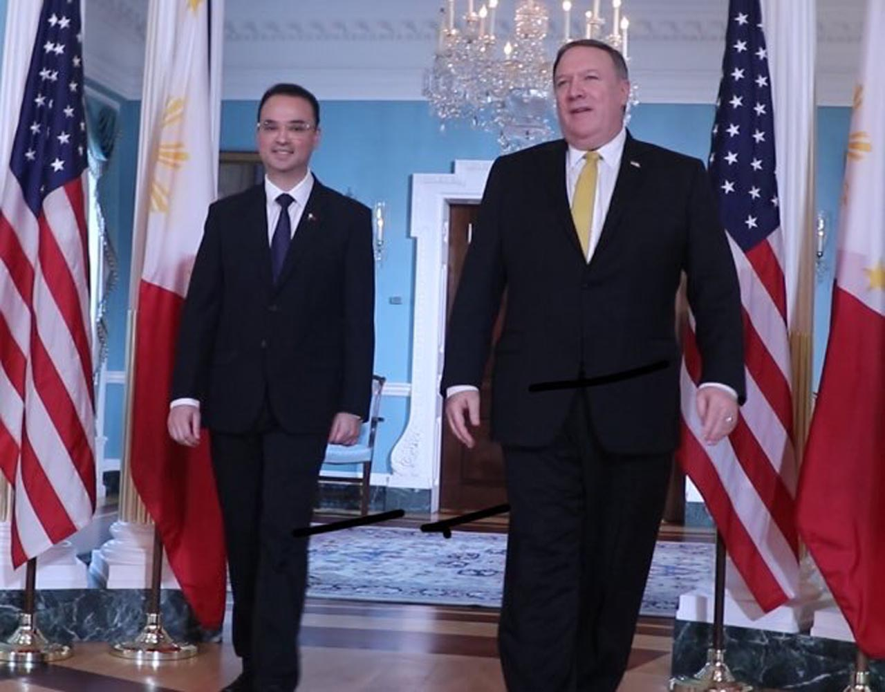 PH-US ALLIANCE. Philippine Foreign Secretary Alan Peter Cayetano (left) with US Secretary of State Mike Pompeo at the US Department of State on June 21, 2018.  Photo from the Philippine Embassy in Washington