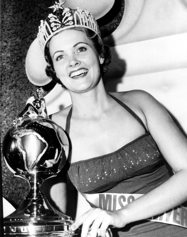 Miriam Stevenson, Miss USA 1954, from South Carolina, was the first Miss USA to become Miss Universe. She was also the first titleholder to obtain a college degree while holding the title. Photo from Miss Universe Organization